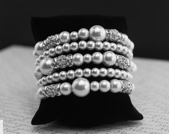 Bridal Cuff Bracelet Chunky Pearl Bracelet Pearl and Crystal Bracelet Bridal Jewelry Custom Bridal Jewelry Bridesmaid Jewelry Wedding