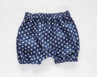 Polka Dots Denim Shorts, Toddler Bloomers, Bubble Shorts, Denim Bloomers, Indigo Bloomers