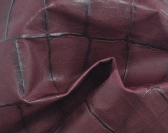 "Fashion Burgundy/Black Large Reptile Leather Cow Hide 8"" x 10"" Pre-cut 1 ounces TA-39026 (Sec. 3,Shelf 7,D)"