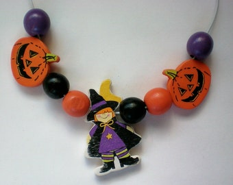 Wooden Halloween Cut Out Necklace