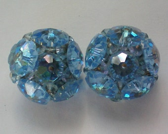 Faceted Blue Glass Bead Cluster Clip Earrings - 4087