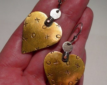 THOMAS MANN Techno Romantic Sterling Silver and Chased Bronze XOXO Heart Pierced Dangle Earrings