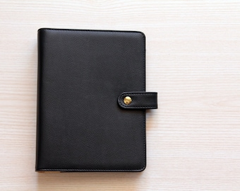 A5 planner binder, planner organizer, black and gold planner, A5 planner in leatherette