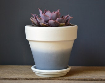 Charcoal Dip Dyed White Terracotta Pot or Planter