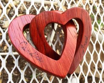Personalized Interlocking Wooden Hearts