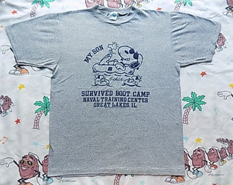 Vintage 80's Snoopy and Woodstock Boot Camp T shirt, size Medium by Artex suuuper soft and thin Joe Cool