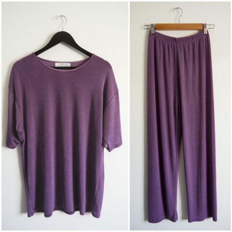 Ladies Vintage 1980s 80s Purple Oversized Sweatsuit