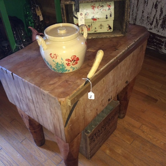 large fantastic butcher block island stand from butcher shop