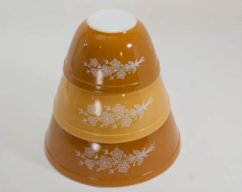 Pyrex Butterfly Gold Nesting Bowls 401 402 403 Orange Yellow