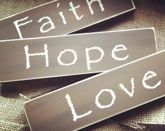 Faith Hope Love Sign Set Decor Gift Individual or Set