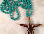 Knotted Bullhead Necklace in Turquoise Czech Glass Beads, Bohemian Necklace, Boho, Long Necklace, Cowgirl, Steerhead Necklace, Western Wear