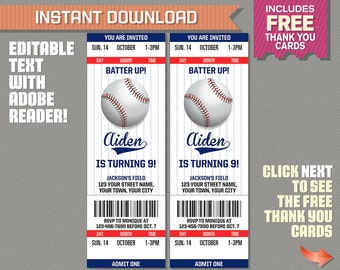 Baseball Ticket Invitation With FREE Thank You Card!   Baseball Birthday,  Baseball Party Invitation  Print Tickets Free Template