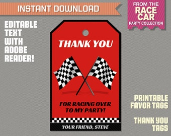 Race Car Party Favor Tag / Race Car Thank you Tag - Race Car Birthday - Race Car Party - Edit and print at home with Adobe Reader