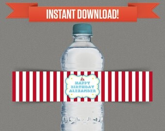 Circus Carnival Party Water Bottle Labels or Napkin Rings - Edit and print at home with Adobe Reader - Instant Download