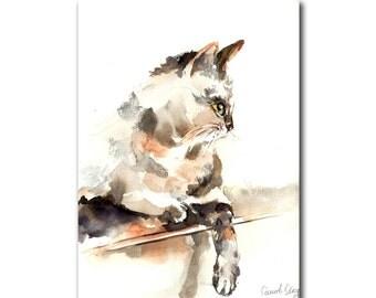Cat Original Watercolor Painting, Cat Watercolour Art