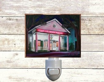 """Night Light, """"Camellia Grill"""", New Orleans Icons,  Handmade, Copper Foiled"""