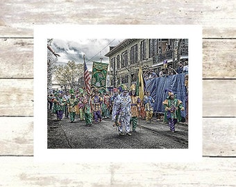 New Orleans Art CORNER CLUB  Mardi Gras  St. Partricks Day  Louisiana Art Limited Edition Photography Irish Channel Marching Club