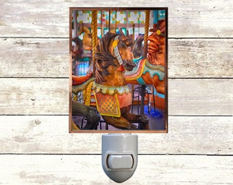 Newborn Night Light - Carousel 2- New Orleans art -  Handmade - Copper Foiled - Childrens room - Nursery Art - Lighting -