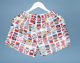 MEN BOXER SHORTS Sweets Jar, Candy, Pyjama, Sleepwear, Boxers, Bottoms, Shorts, Gift for Dad, Gift for him, Underwear
