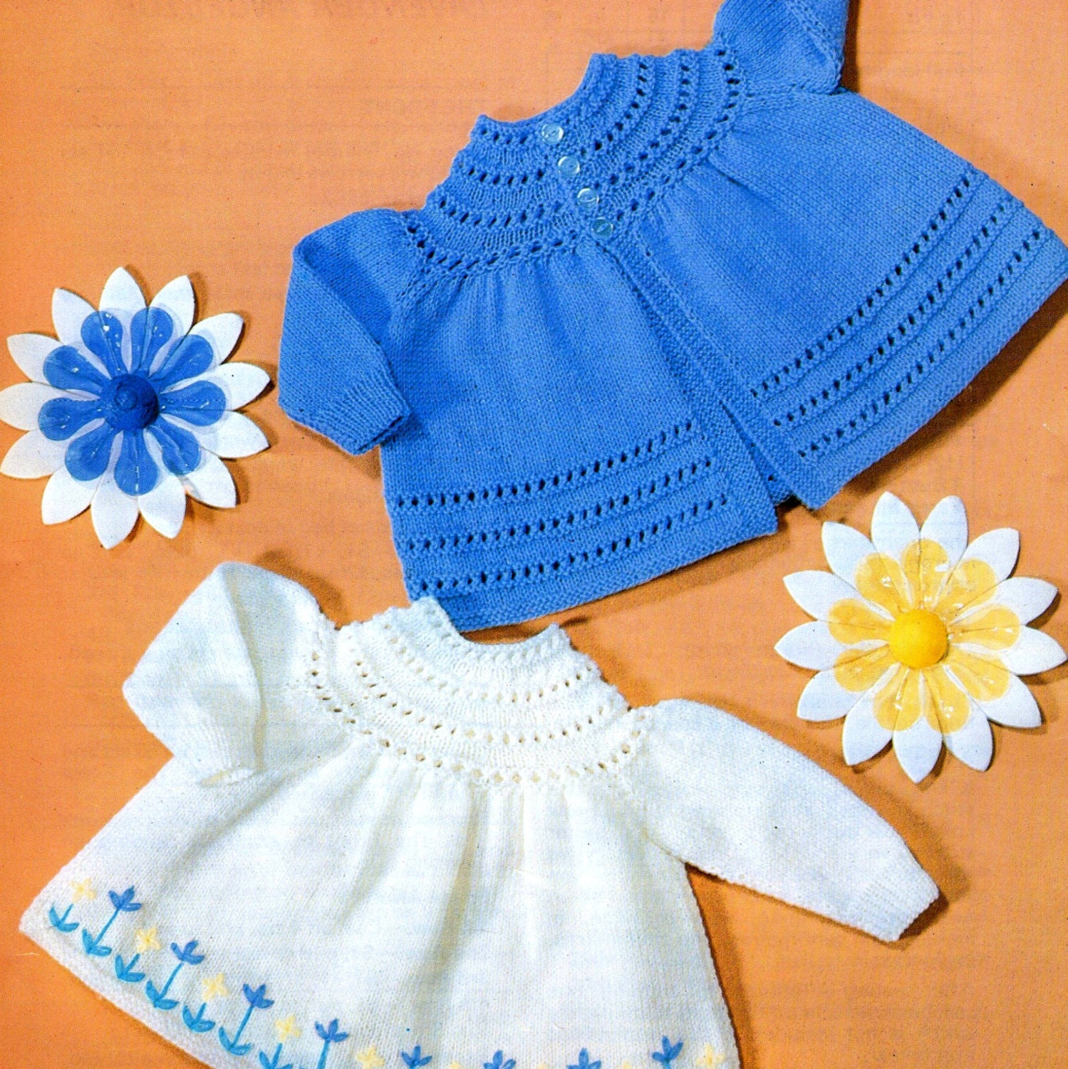 Knitting Pattern Angel Top : Vintage Knitting Pattern Baby Angel Top Matinee Coats