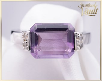 Amethyst & Diamond Ring ~ 14k White Gold ~ 10 x 8 mm Natural Emerald Cut Amethyst ~ Single Cut Diamond Accents ~ STR17295 ~ GIA ~ 1200.00