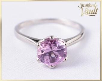 Vintage ~ Ladies Pink Sapphire Ring ~ 10K White Gold ~ 7mm Round Brilliant Cut Created Pink Sapphire  ~ STR_011 ~ 1000.00