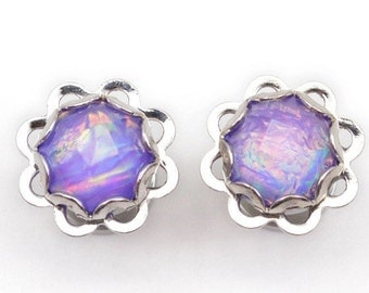 Purple foil scallop plugs 13mm