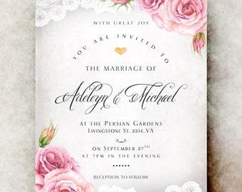 Wedding Invitations vintage - winter wedding invitation, lace wedding invitation, printable wedding invitation, rustic wedding