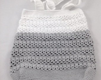 Grey and White Colorblocked Crochet Market Bag