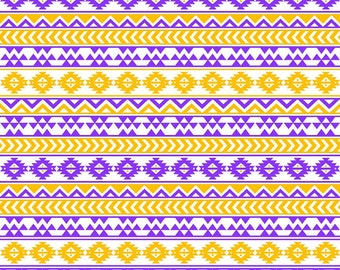 Purple, yellow-gold and white tribal pattern craft  vinyl sheet - HTV or Adhesive Vinyl -  Aztec Peruvian pattern HTV957