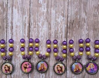 Rapunzel party favor necklaces.. Tangled necklace.. Rapunzel party favors..Rapunzel necklace