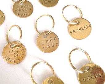 Custom stamped personalized brass keychain