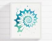 Watercolor Sea Shell, Sea Shell Art, Sea Shell Print, Seashell Painting, Coastal Wall Art, Bathroom Decor, Ocean Art, Nautical Wall Art