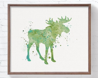 Watercolor Moose, Baby Boy Nursery, Boys Room Decor, Nursery Wall Art, Childrens Art, Watercolor Nursery Art, Kids Wall Art, Green, Teal