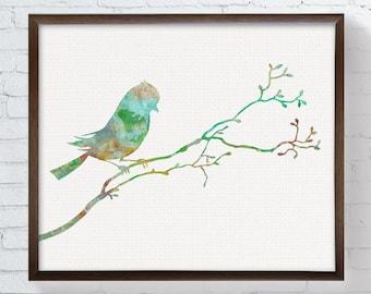 Bird Watercolor, Bird Art Print, Bird Painting, Bird Illustration, Sparrow, Nature Art, Animal Painting, Watercolor Art, Nursery Art, Green