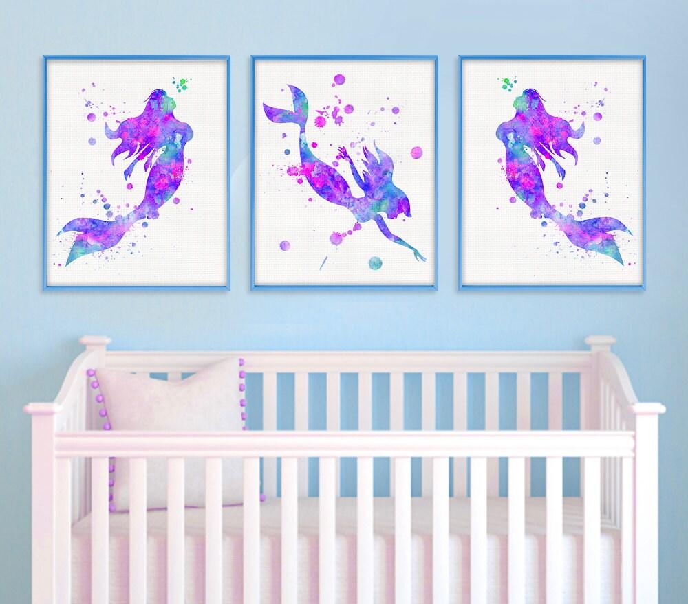 Mermaid Nursery Decor Watercolor Nursery Art Nursery Wall