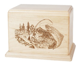 Maple Trout Stream Fishing Wood Cremation Urn