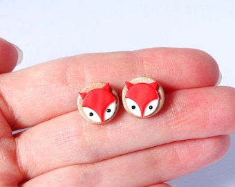 Design red fox ear studs dainty stud earrings autumn copper handmade polymer clay