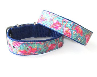 Lilly Fabric Inspired, Peel and Eat Flamingo Watch Band for Timex Weekender Watch, Band Only, Replacement Strap 16mm or 20mm Widths