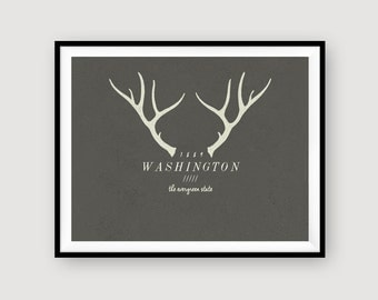 Washington | The Evergreen State | Antlers | Winter | Wall Decor | INSTANT DOWNLOAD | 8x10