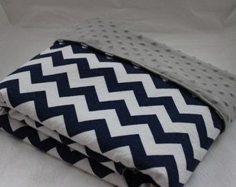 Navy chevron baby blanket with grey minky - baby shower gift