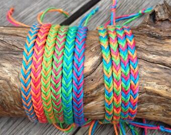 Handmade Neon Bamboo Cord Bracelet/Anklet/Wristband - Fishtail Pattern