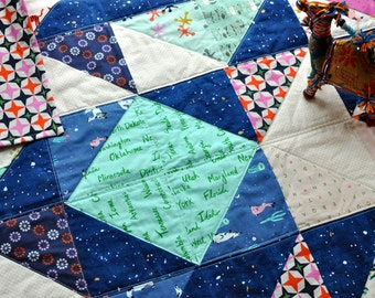 Modern Baby Quilt, Geometric Nursery Decor, Navy Baby Quilt, Boho Baby Bedding, Baby Girl Quilt, Play Mat, Baby Boy Quilt, Gender Neutral