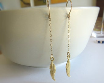 gold feather earrings, feather earrings, dainty jewelry, gold earrings