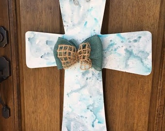 Blue Watercolor Cross