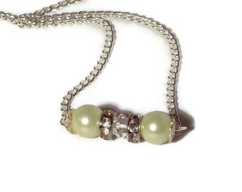 Pearl Bar Necklace Cream Colored Glass Pearl