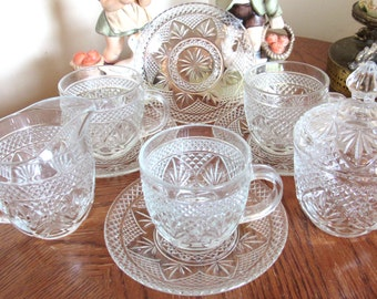 Vintage Cristal D' Arques Durand 3 Tea Cups and 4 Saucers with Matching Creamer and Sugar - French Glassware - Excellent Condition