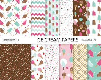 Ice cream digital papers, ice cream, popsicle, scrapbook paper, digital backgrounds - BR 446