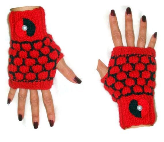 Heart Fingerless Gloves Mittens Fingerless by ...