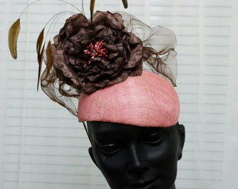 Dusty Pink Fascinator Hat with Brown Flower and Feathers